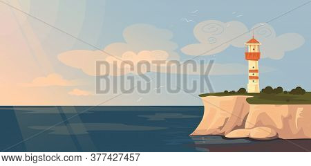 Lighthouse And Seascape Vector Illustration. Cartoon Flat Lighthouse Tower On Rock Stone Island, Blu