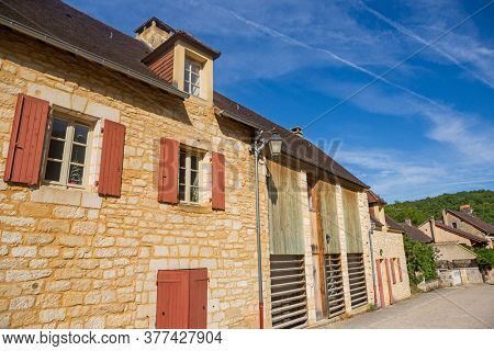 Saint Amand de Coly; Dordogne; France - August 13; 2019: Perigord Noir, Saint Amand de Coly typical houses, labelled Les Plus Beaux Villages de France - The Most Beautiful Villages of France