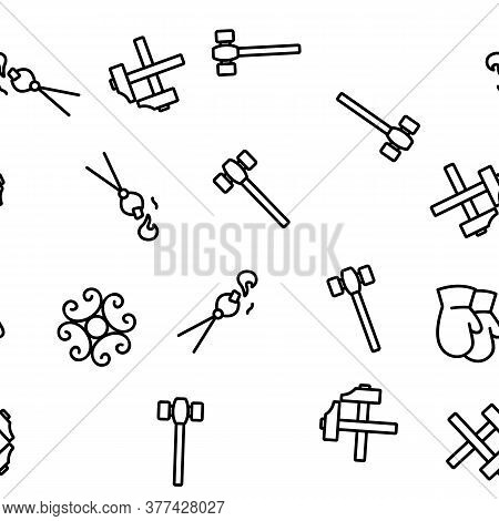 Blacksmith Vector Seamless Pattern Thin Line Illustration