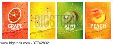 Set Of Labels With Fruit Drink.fresh Fruits Juice Splashing Together- Banana, Kiwi, Peach, Grapefrui