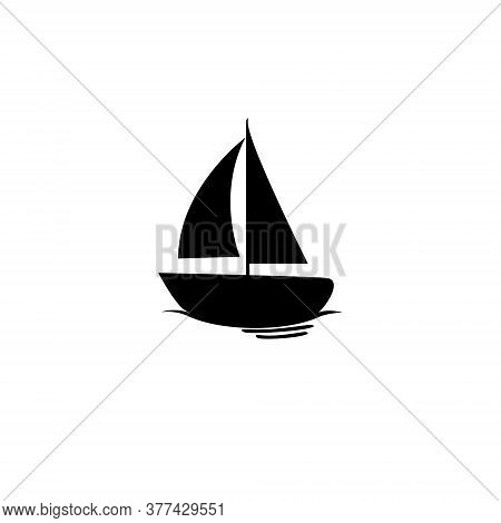 Sailboat Logo Icon Isolated On A White Background