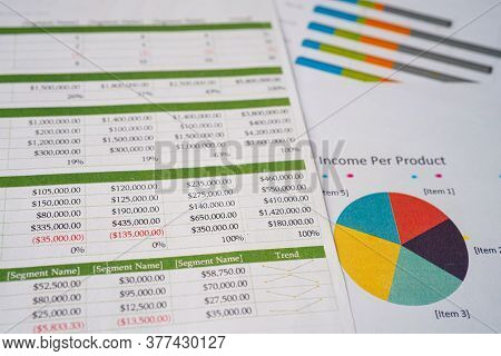 Spreadsheet Table Paper On Graph Paperl. Finance Development, Banking Account, Statistics Investment