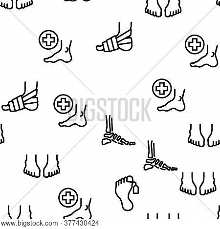 Foot Human Body Part Vector Seamless Pattern Thin Line Illustration