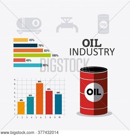 Petroleum And Oil Industry Infographic Design, Vector Illustration
