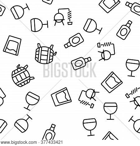 Whisky Alcoholic Drink Vector Seamless Pattern Thin Line Illustration