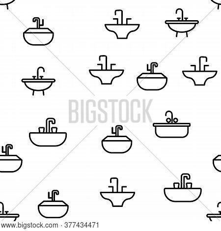 Sink Ceramic Bathroom Vector Seamless Pattern Thin Line Illustration