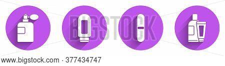 Set Perfume, Cream Or Lotion Cosmetic Tube, Nail File And Cream Or Lotion Cosmetic Tube Icon With Lo