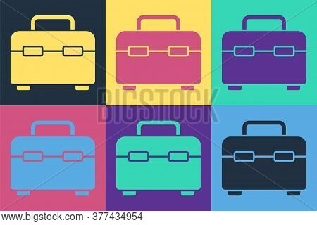 Pop Art Toolbox Icon Isolated On Color Background. Tool Box Sign. Vector Illustration