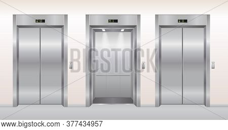 Elevator Doors Vector Illustration. Cartoon Flat Empty Realistic Modern Office Or Hotel Hallway Inte