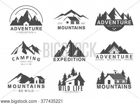 Mountain Logo Flat Vector Illustration Set. Design Element Sign Logo Stamp Collection Of Camping Out
