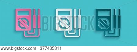 Paper Cut Ampere Meter, Multimeter, Voltmeter Icon Isolated On Blue Background. Instruments For Meas
