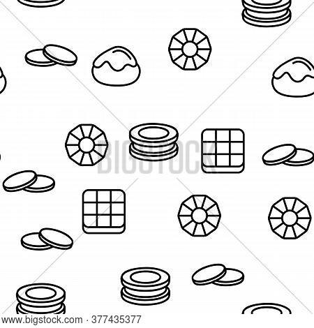 Cookie Baked Dessert Vector Seamless Pattern Thin Line Illustration