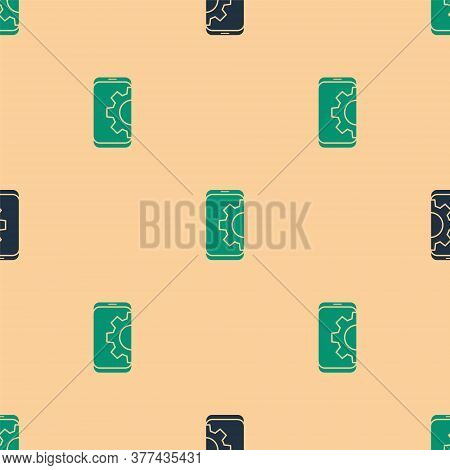 Green And Black Setting On Smartphone Icon Isolated Seamless Pattern On Beige Background. Adjusting,