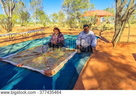 Kings Creek Station, Northern Territory, Australia - Aug 21, 2019: Australian Aborigines Show The Tr