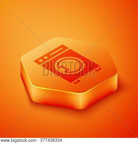 Isometric Washer Icon Isolated On Orange Background. Washing Machine Icon. Clothes Washer - Laundry