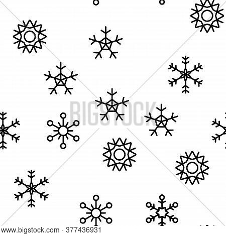 Snowflake Tracery Vector Seamless Pattern Thin Line Illustration