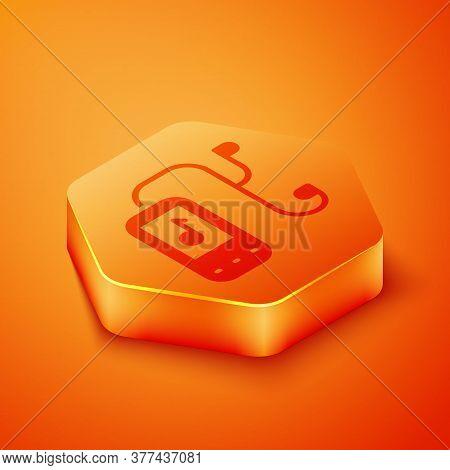 Isometric Music Player Icon Isolated On Orange Background. Portable Music Device. Orange Hexagon But