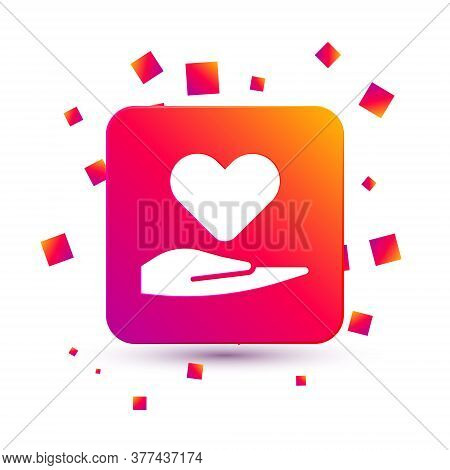White Heart On Hand Icon Isolated On White Background. Hand Giving Love Symbol. Valentines Day Symbo
