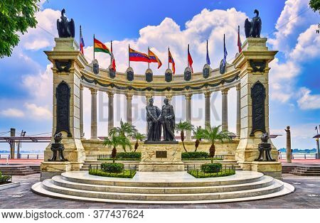 Guayaquil , Ecuador- March 7 , 2020 : The Rotunda Hemicycle on Malecon 2000 monument to the liberators simon bolivar and san martin