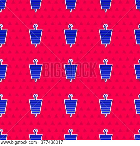 Blue Grilled Shish Kebab On Skewer Stick Icon Isolated Seamless Pattern On Red Background. Meat Keba