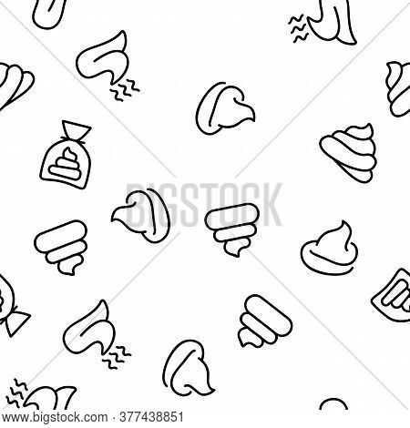 Poop Excrement Pile Vector Seamless Pattern Thin Line Illustration