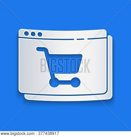 Paper Cut Online Shopping On Screen Icon Isolated On Blue Background. Concept E-commerce, E-business