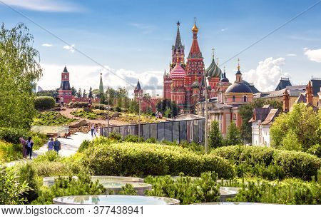 Landscaped Design In Modern Zaryadye Park Near Moscow Kremlin, Russia. This Place Is Tourist Attract