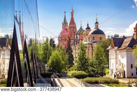 Urban Landscape Of Moscow, Russia. Modern Building And Old Churches In Moscow City Center, St Basil`
