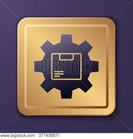 Purple Gear Wheel With Package Box Icon Isolated On Purple Background. Box, Package, Parcel Sign. De