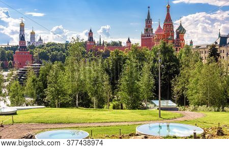 Moscow Kremlin And St Basil`s Cathedral Behind Zaryadye Park, Moscow, Russia. Urban Landscape, Beaut