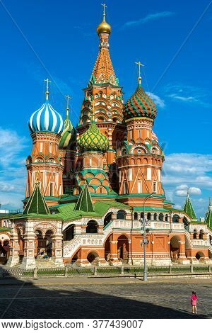 St Basil`s Cathedral On Old Red Square, Moscow, Russia. Ancient Saint Basil`s Church Is Famous Touri