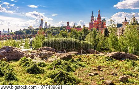 Landscaped Design In Modern Zaryadye Park Near Famous Moscow Kremlin, Russia. Zaryadye Is New Touris