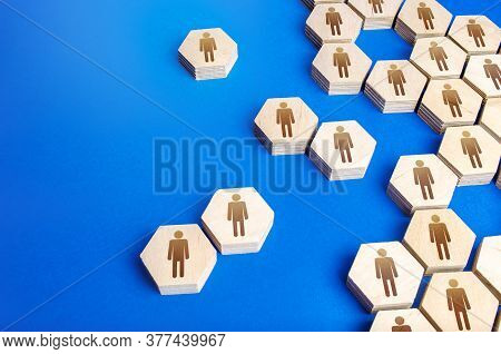 The Structure Of A Society Made Of Hexagons. The Process Of Uniting Or Disintegrating People Into A