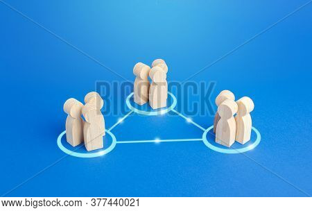 Three Groups Of People Are Connected By Lines. Cooperation And Collaboration, Job Sharing Distributi