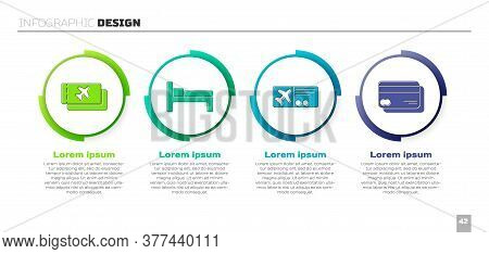 Set Airline Ticket, Bed, Airline Ticket And Credit Card. Business Infographic Template. Vector