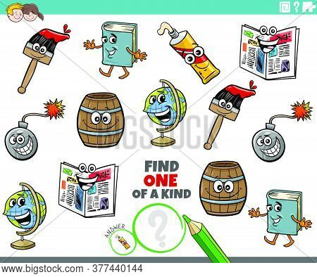 Cartoon Illustration Of Find One Of A Kind Picture Educational Game With Funny Object Characters