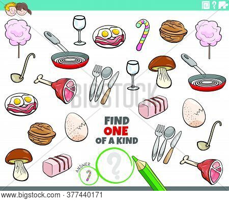 Cartoon Illustration Of Find One Of A Kind Picture Educational Game With Food Objects And Utensils