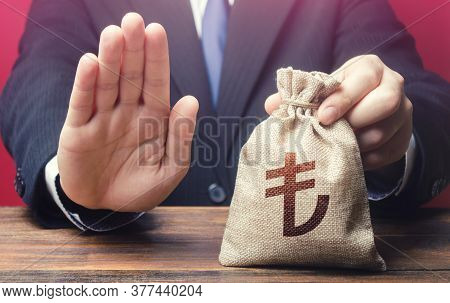 Businessman Refuses To Give Turkish Lira Money Bag. Asset Freeze. Stop Financing Projects And Reform