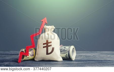 Turkish Lira Money Bag And Red Arrow Up. Growth Of Economy And Increase Of Investment Attractiveness