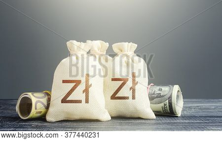 Polish Zloty Money Bags And Cash. Financial Resources, Grants, Project Financing. National Gold And