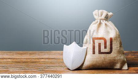 Israeli Shekel Money Bag And Protection Shield. Ease Doing Business. Guaranteed Deposits Insurance C
