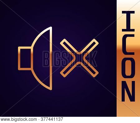 Gold Line Speaker Mute Icon Isolated On Black Background. No Sound Icon. Volume Off Symbol. Vector I