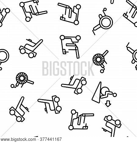 Wheelchair For Invalid Vector Seamless Pattern Thin Line Illustration