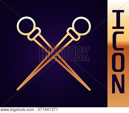 Gold Line Knitting Needles Icon Isolated On Black Background. Label For Hand Made, Knitting Or Tailo