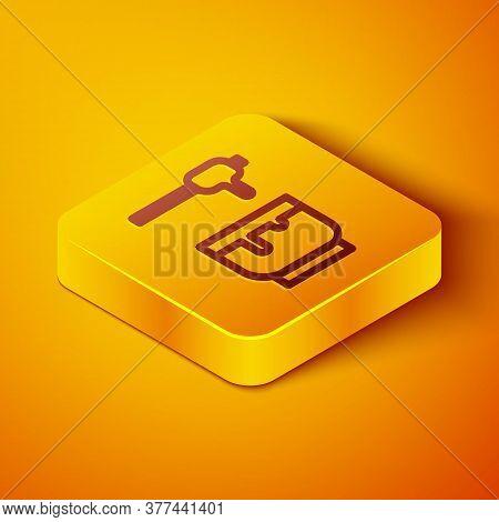 Isometric Line Honey Dipper Stick And Bowl Icon Isolated On Orange Background. Honey Ladle. Yellow S