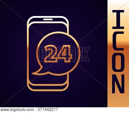Gold Line Food Ordering Icon Isolated On Black Background. Order By Mobile Phone. Restaurant Food De