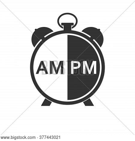 Abbreviations For Hours Before Noon And After Noon On The Clock Face, Isolated On A White Background