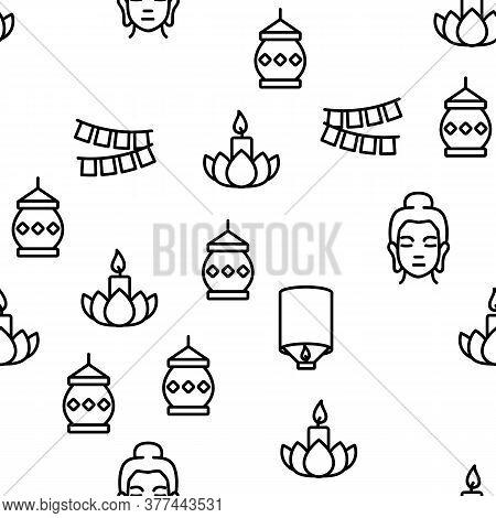 Vesak Day Buddhism Vector Seamless Pattern Thin Line Illustration
