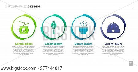 Set Chinese Drum, Yin Yang, Chinese Tea Ceremony And Chinese Hat. Business Infographic Template. Vec