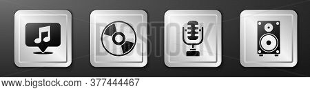 Set Musical Note In Speech Bubble, Cd Or Dvd Disk, Microphone And Stereo Speaker Icon. Silver Square